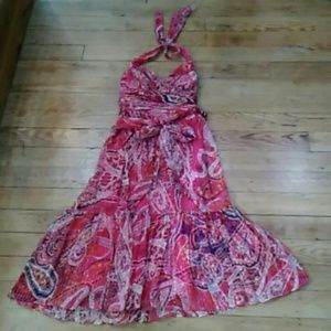 Pre-owned Adrianna Papell Silk Print Dress
